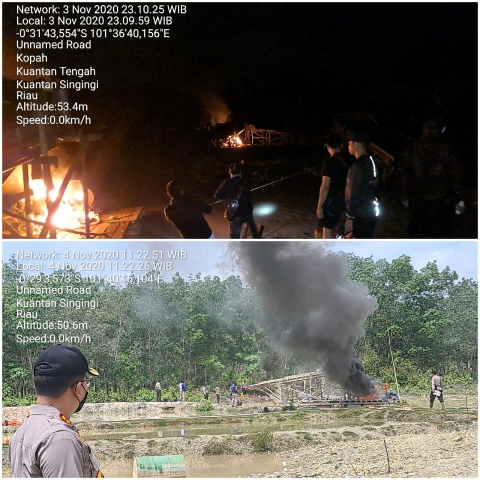 Sebanyak 25 unit Alat Dompeng dimusnahkan aparat Polres Kuansing di TKP