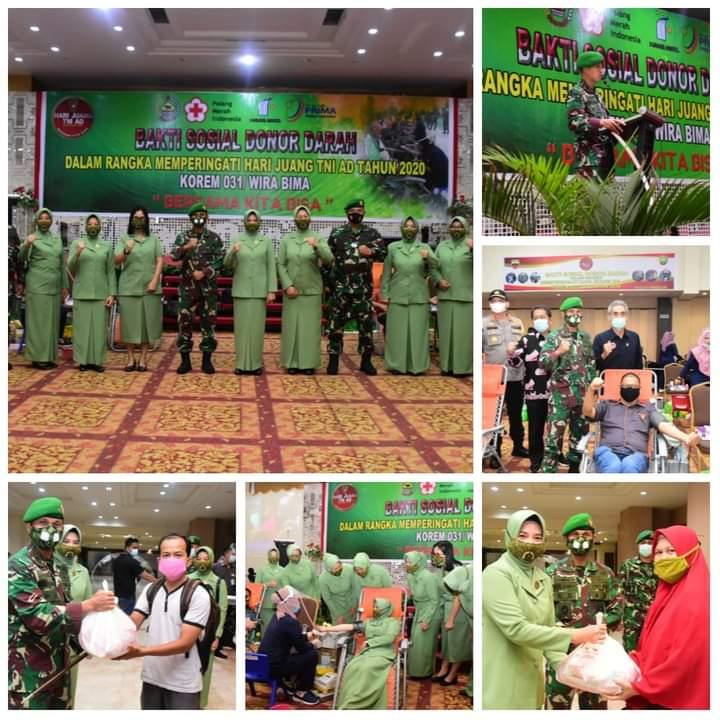 Peringatan Hari Juang TNI AD 2020, Korem 031/WB Gelar Baksos Donor Darah Untuk Kepedulian Sesama