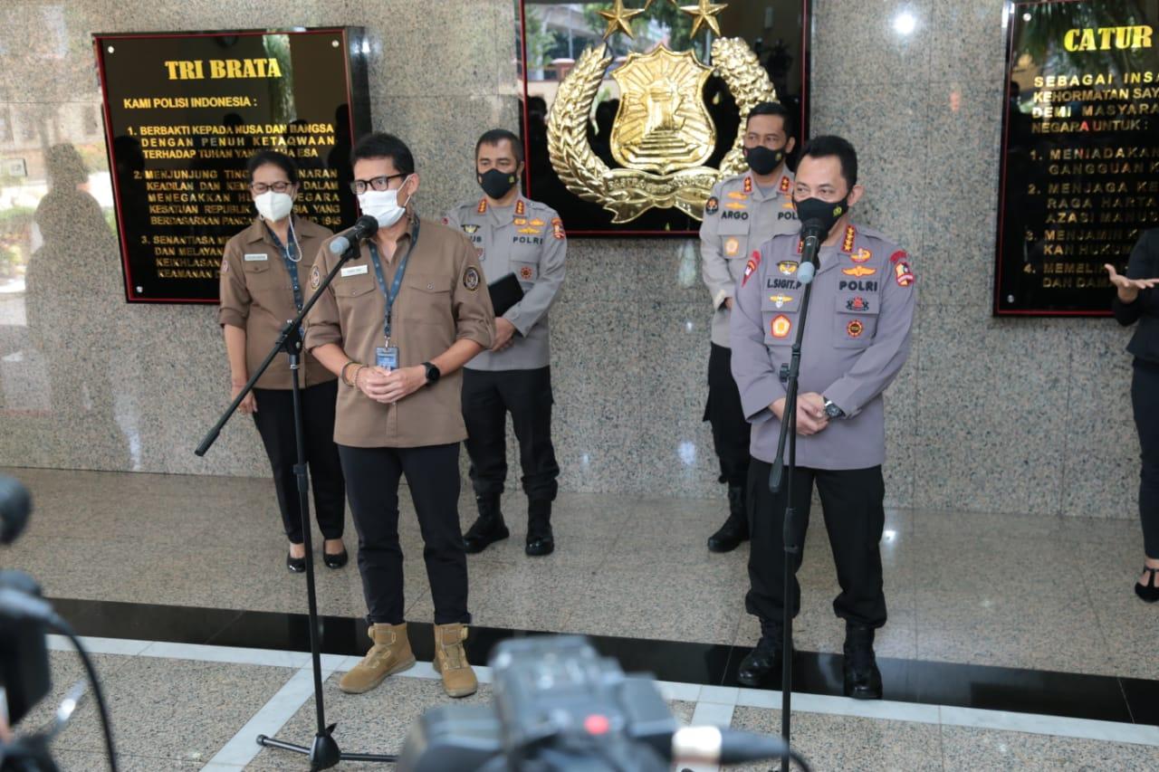 Dikunjungi Menteri Sandiaga Uno, Kapolri Bahas Penguatan 5 Destinasi Super Prioritas