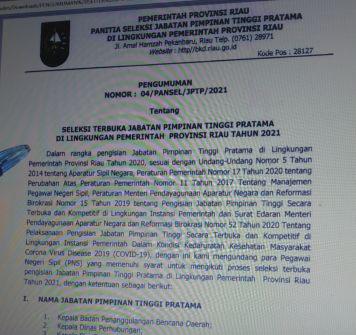 Pemprov Riau Umumkan Seleksi Terbuka Jabatan Pimpinan Tinggi Pratama, Ini Syaratnya...