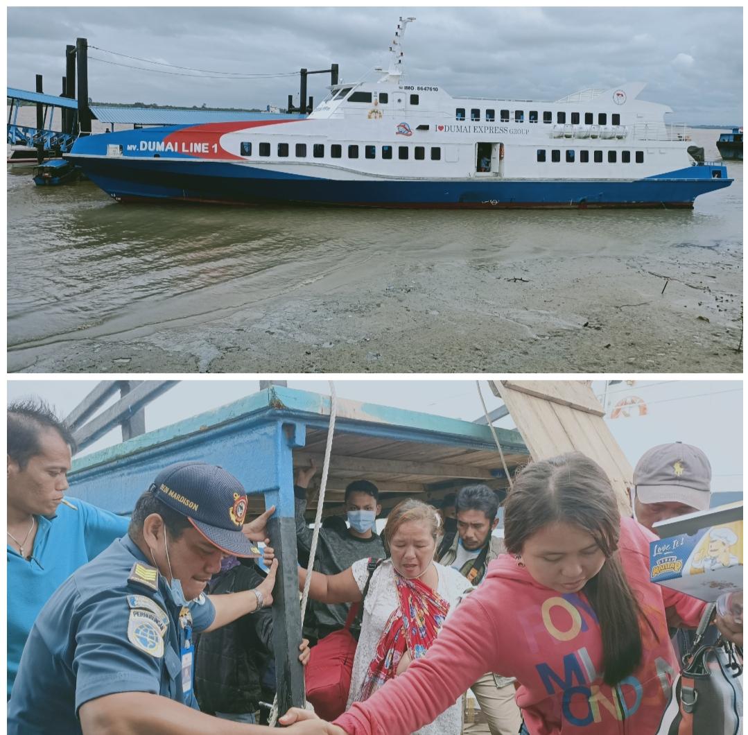 Kapal Ferry Tujuan Bengkalis - Dumai Kandas dipelabuhan Tanjung Harapan Selatpanjang