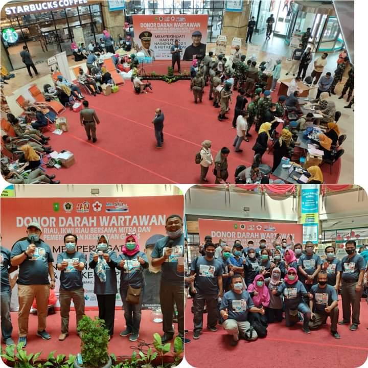 Donor Darah PWI Riau Tahun 2021  Bersama Mitra Kembali Lebihi Target