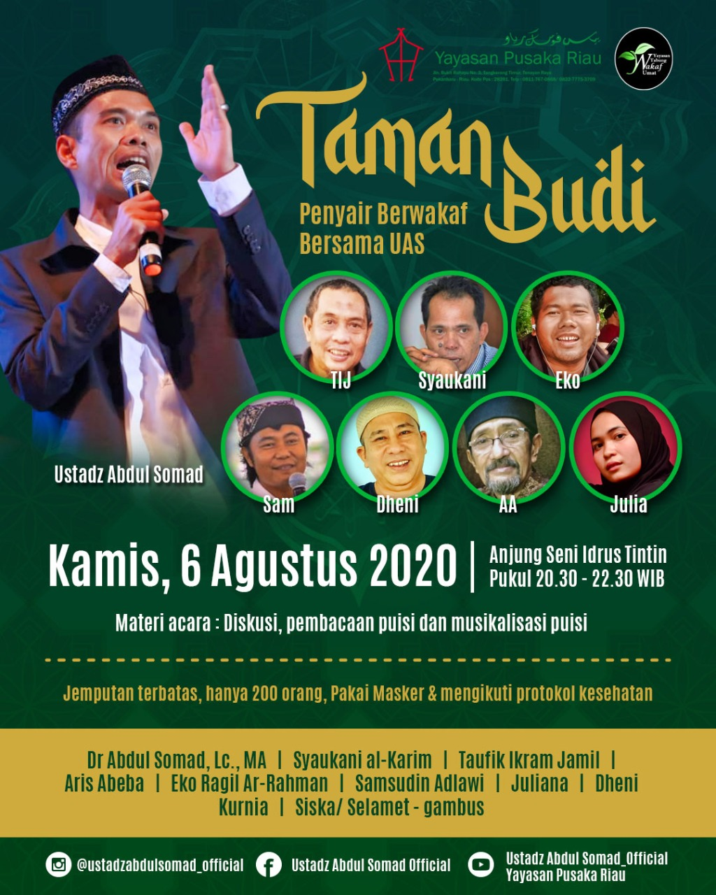 Ustadz Kondang Asal Riau Ini Merindukan Penyair, Saksikan Penyair Berwakaf Bersama UAS