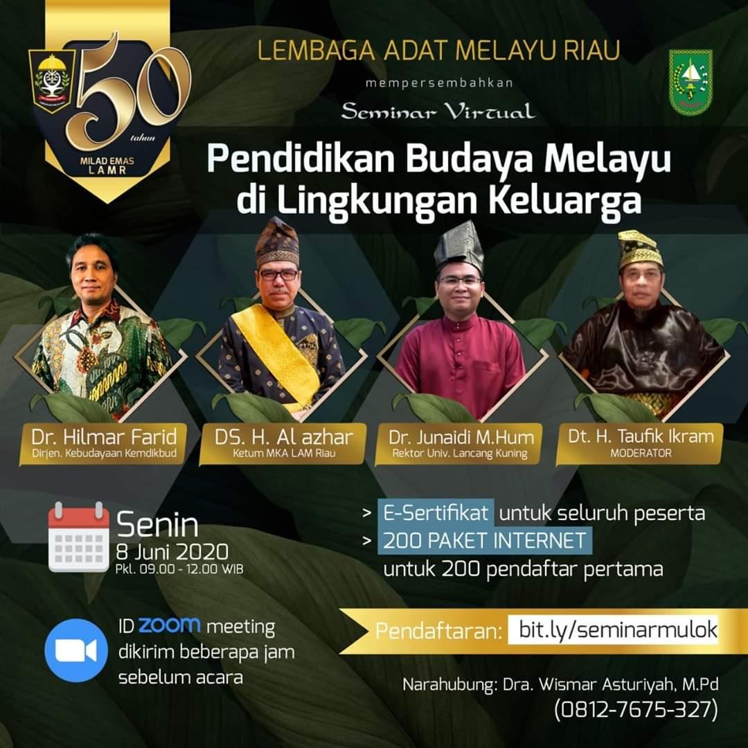 Pendaftar Seminar Virtual Budaya Melayu Sampai Negeri Malaysia dan Singapura