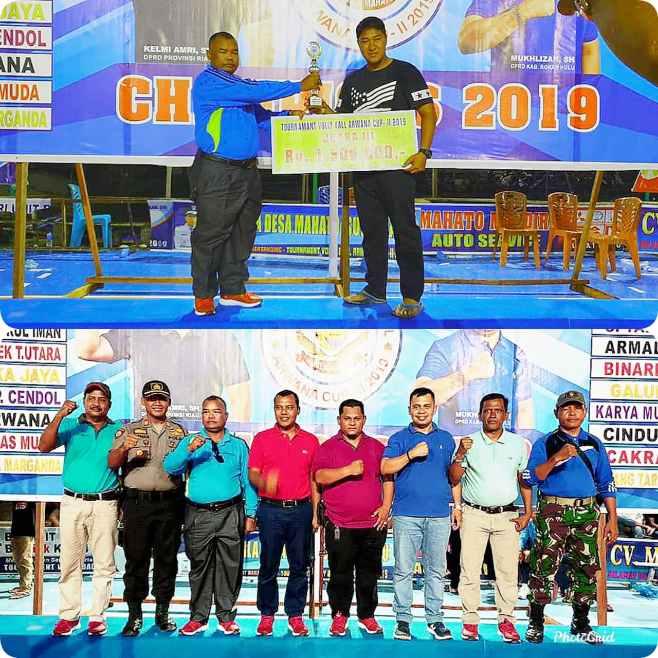 Kelmi Amri Tutup Secara Resmi Turnament Volly Ball Arwana Cup II Tahun 2019