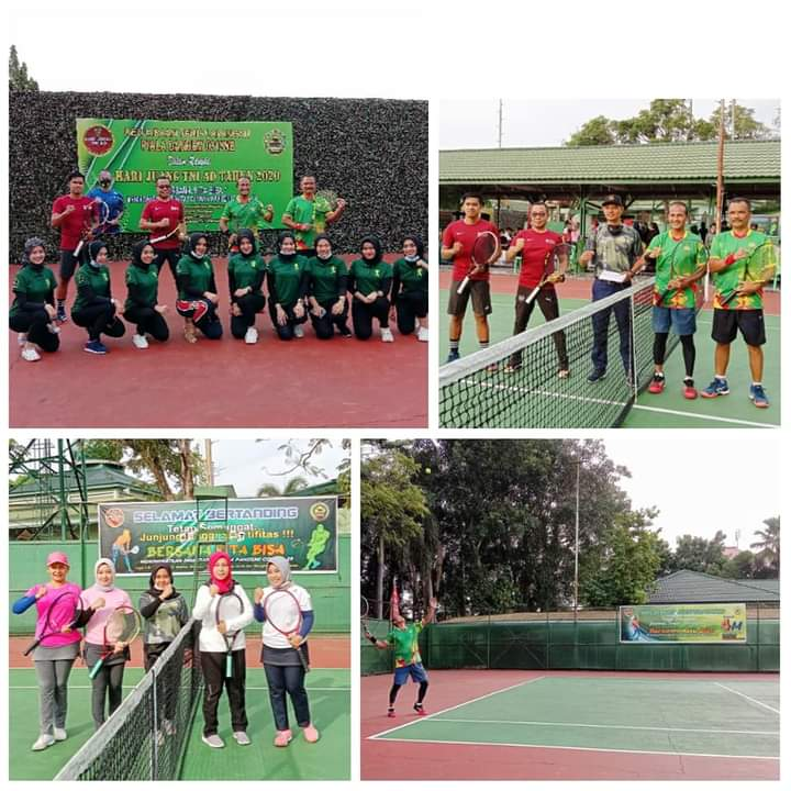 Korem 031/WB Gelar Kejuaraan Tenis Lapangan Piala Danrem Dalam Rangka Hari Juang TNI AD 2020