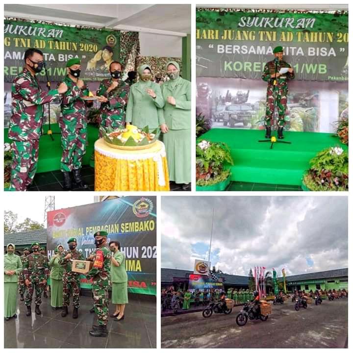 Syukuran Hari Juang TNI AD 2020, Korem 031/WB Potong Tumpeng dan Lepas Konvoi Motor Sembako