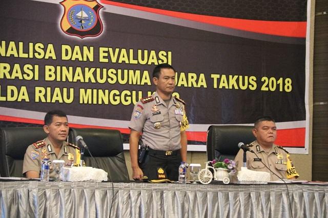 Polda Riau Gelar Analisa dan Evaluasi Pelaksanaan Operasi Bina Kusuma Muara Takus 2018 Minggu Ke-2