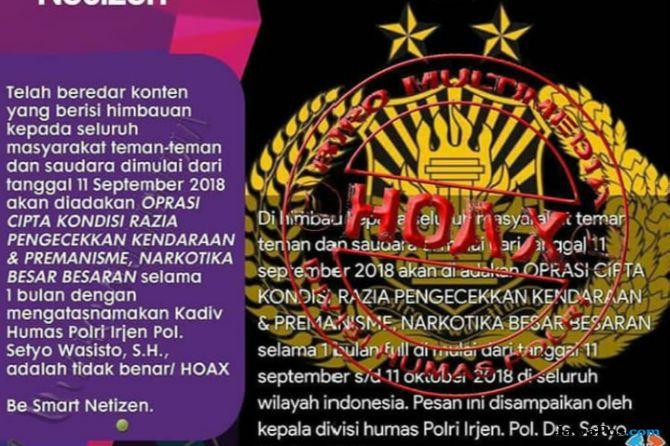 Operasi Cipkon Besar-besaran 11 September, Kadiv Humas Polri: Hoax!