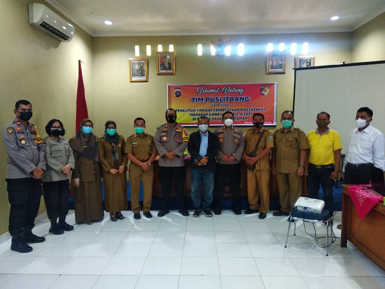 Kapolres Padang Pariaman Terima Kunjungan Tim Puslitbang Polri