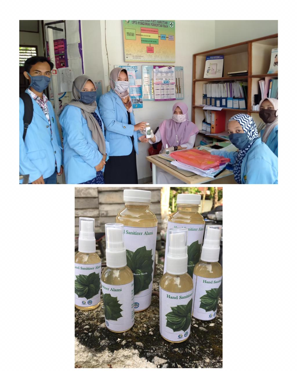 Tim Kukerta Relawan Covid-19 UNRI distribusikan Hand Sanitizer ke instansi-instansi di Desa Hangtuah
