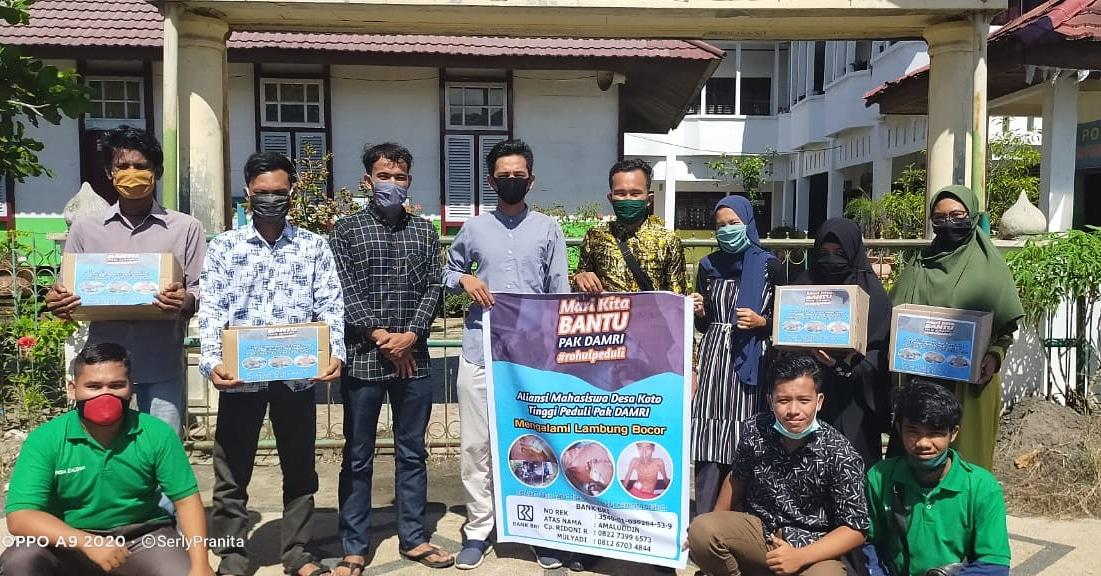 Aliansi Mahasiswa Desa Koto Tinggi Peduli Pak Damri Serahkan Bantuan Donasi Kepada Keluarganya.