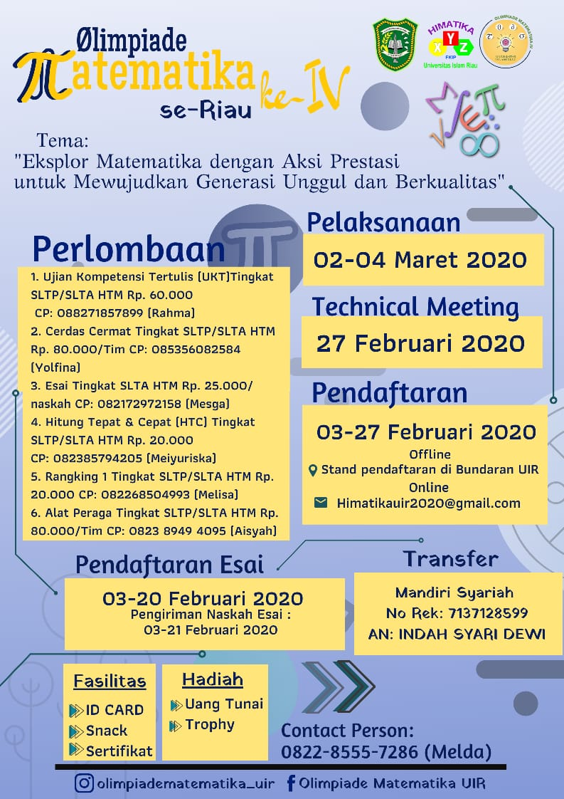Universitas Islam Riau Kembali buka Pendaftaran OLIMPIADE Matematika Tingkat SLTP, SLTA Se-Riau